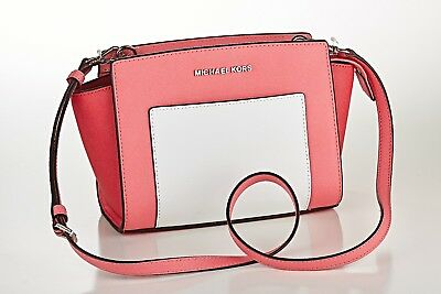 2b957465089d MICHAEL KORS SELMA Pocket Saffiano Leather Messenger Coral ...