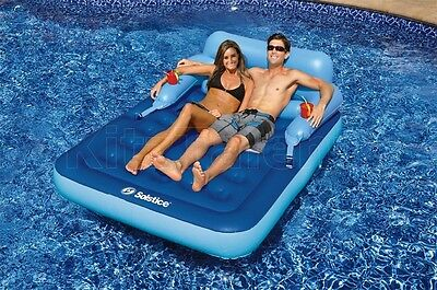 Luxury Inflatable Swimming Pool Float Floating Mattress Raft Summer Lounger -NEW