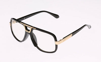 Clear Lens Frame Gazelle Style Fashion Mens Womens Eye Glasses Gold Metal Black