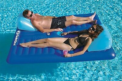 Large Inflatable Swimming Pool Lounger Float 2-Person Mattress Comfort Raft -Sun