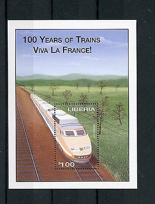 Liberia 2003 MNH 100 Years of Trains 1v S/S II Railways Vive Le France TGV