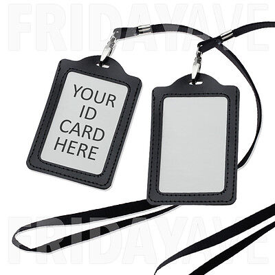 2x Black Leather ID Card Badge Holder Name Tag Press Pass Lanyard Neck Strap