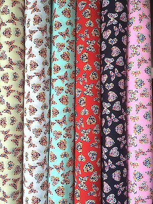 PolyCotton fabric Designer Tiny Colourful floral filled Butterflys & Hearts
