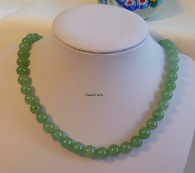 Certified green Dongling jade 8mm round beads 45cm necklace