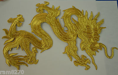 GOLD CHINESE DRAGON 20cm LGE LR EMBROIDERED CLOTH SEW IRON ON PATCH BADGE JACKET