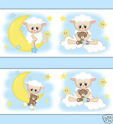 Sheep Lamb Wallpaper Border Wall Decal Star Moon Barnyard Farm Animals Nursery