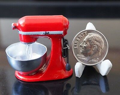 Dollhouse Miniatures RED Mixer Stand Electric Bakery Accessory Kitchenware Deco