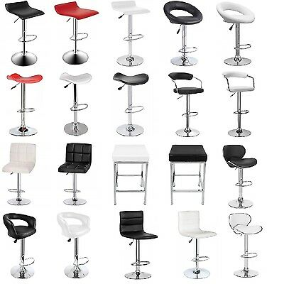 4X New PU PVC Leather Bar Stool Kitchen Chair Gas Lift Black White Red free post