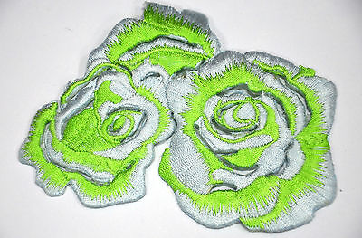 GREEN & WHITE ROSE FLOWER  Embroidered Sew Iron On Cloth Patch APPLIQUE SEWING