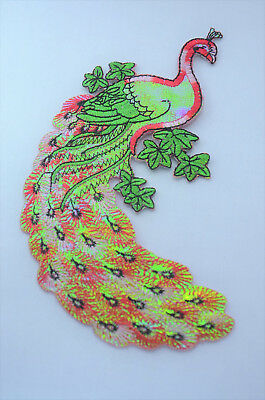 PEACOCK BIRD 18cm SHINY RED  Embroidered Sew Iron On Cloth Patch Badge Applique