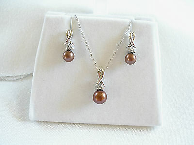 SET- 6 mm Brown Pearl Solitaire & Diamond  10k White Gold Necklace & Earrings
