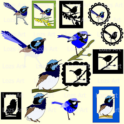 Blue Wren Bird Image Cutting Files FCM PNG PDF SVG DXF Silhouette SCAL Brother