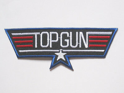 """TOP GUN military embroidered badge Patch 4.5 X 12 cm 1.75""""x4.75"""" A"""