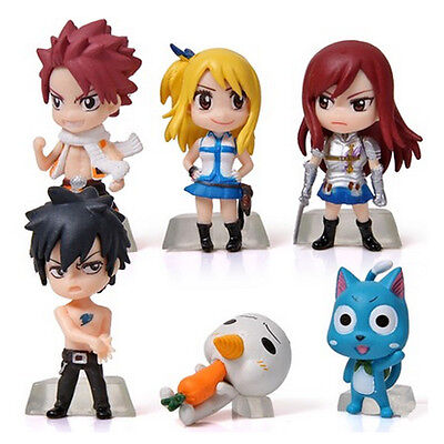 Anime Fairy Tail Set 6x Mini Action Figures PVC Dolls Model Toy Gift Collectable