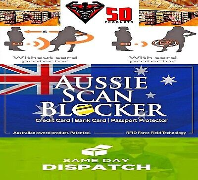 2 x RFID BLOCKING CARDS - AUSSIE SCAN BLOCKER - PROTECT YOUR CREDIT CARDS