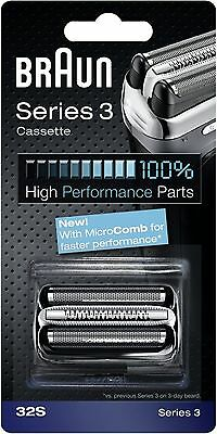Braun Series 3 32S Electric Shaver Replacement Foil Cartridge Cassette - Silver