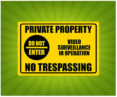 Private Property Do Not Enter Yellow Metal Signs 600x450 mm