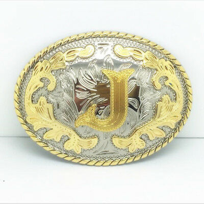 "Initial ""J"" Letter Oval Gold & Silver Rodeo Western Cowboy Metal Belt Buckle"