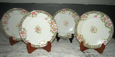 Nippon Hand Painted Bread Plates w/Gold Rim & Pink flowers Set of 4