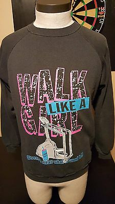 Vintage 80s 90s Walk Like Girl Used To Mean Sweatshirt Treadmill Gym Workout