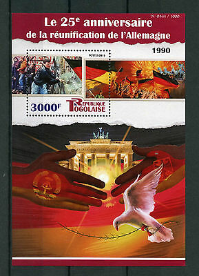 Togo 2015 MNH Reunification of Germany 25th Ann 1v S/S Fall Berlin Wall
