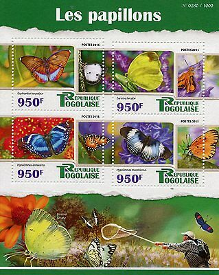 Togo 2015 MNH Butterflies 4v M/S Insects Forester Blue Diadem Butterfly