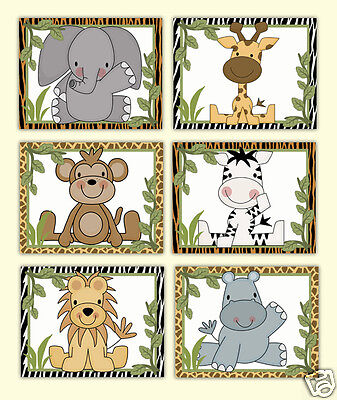 Safari Animal Prints Wall Art Boy Jungle Zoo Nursery Childrens Decor Shower Gift