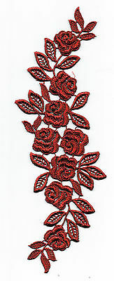 1 x Bright Red Roses GUIPURE LACE Appliqué Embellishment - DRESS MAKING SEWING
