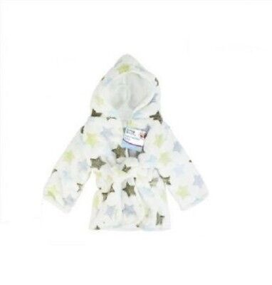NEW Baby Hooded Robe Supersoft Microfibre Fleece Baby Boys White / Green Robe