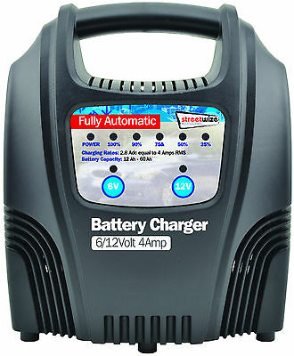 Streetwize 4 Amp Automatic Trickle Car Motorbike Motorhome 12V Battery Charger