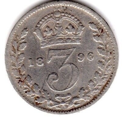 1896 3d Silver THREE PENCE threepence thrupence Queen Victoria Old Head (a)