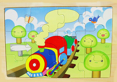 New Kids Boys Girls Educational Wooden Puzzle Jigsaw Toy Train Gift Learning