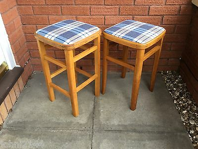 Pair of Vintage Retro stools recently re-upholstered and teak oiled