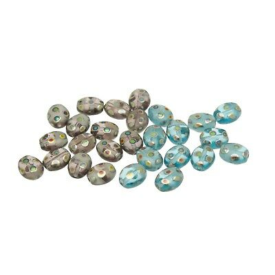 50 Two Tone Czech Glass Oval Beads with Peacock finish size 8x6mm