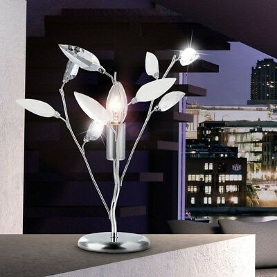 Contemporary Table Lamp Delicate Flower Shaped Pendant Chrome Standing Light