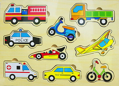 New Kids Educational Wooden Puzzle Jigsaw Boys Girls Transport Toy Gift