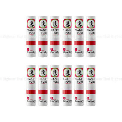 12 X Siang Pure Inhaler Menthol Eucalyptus Oil Relief Cold Nasal Congestion