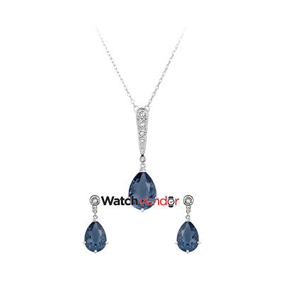 Swarovski Crystal and Rhodium Vintage Pendant Necklace and Pierced Earring Set