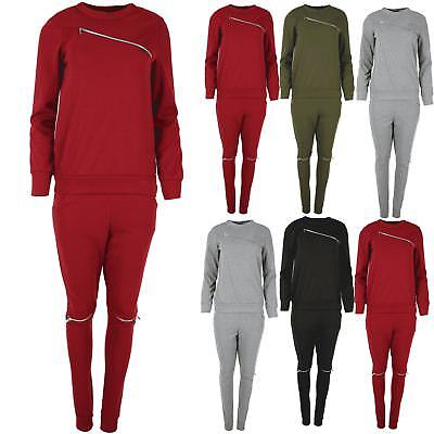 Womens Chest Zip Cut Out Lounge Wear Ladies Stretchy Long Sleeve Top Tracksuit