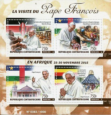 Central African Republic 2015 MNH Pope Francis Visits Africa 4v M/S Mosques
