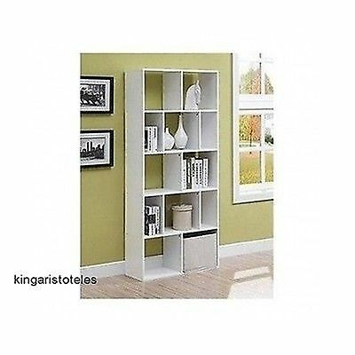 White 12 Shelf Bookcase Modern Home Decor Office Furniture Storage Bookshelf New