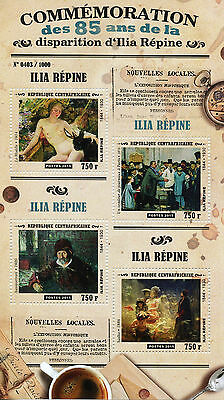 Central African Republic 2015 MNH Ilya Repin 85th Memorial Ann 4v M/S Art Sadko
