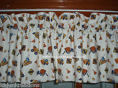 custom LINED baby Valance CONSTRUCTION ZONE build it truck TRACTOR CIRCO fabric