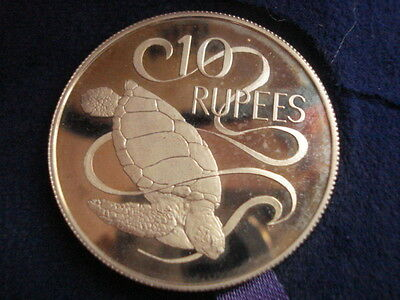 1974 Seychelles 10 Rupees Turtle Silver crown Proof Coin