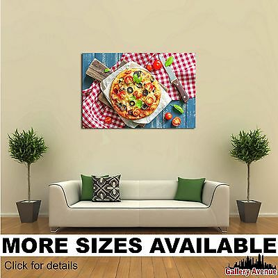 Wall Art Canvas Picture Print - Pizza on Board Olives Tomatoes 3.2