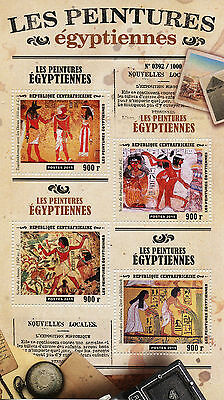 Central African Republic 2015 MNH Ancient Egyptian Paintings 4v M/S Tutankhamun