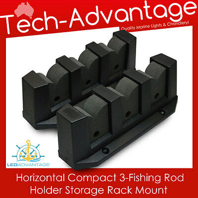 3-Rod Horizontal Fishing Rod Holder Storage Space Rack - Boat/marine/garage/home