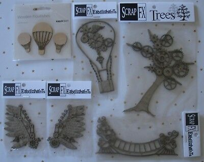U Choose) Steampunk Chippies Hot Air Balloons Left & Right Wings Border Cog Tree