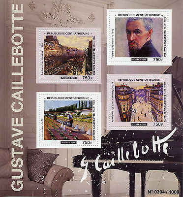 Central African Rep 2015 MNH Gustave Caillebotte 4v M/S Paintings Rue Halevy
