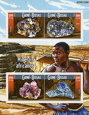 Guinea-Bissau 2015 MNH African Minerals 4v M/S Galena Limpopo Amethyst